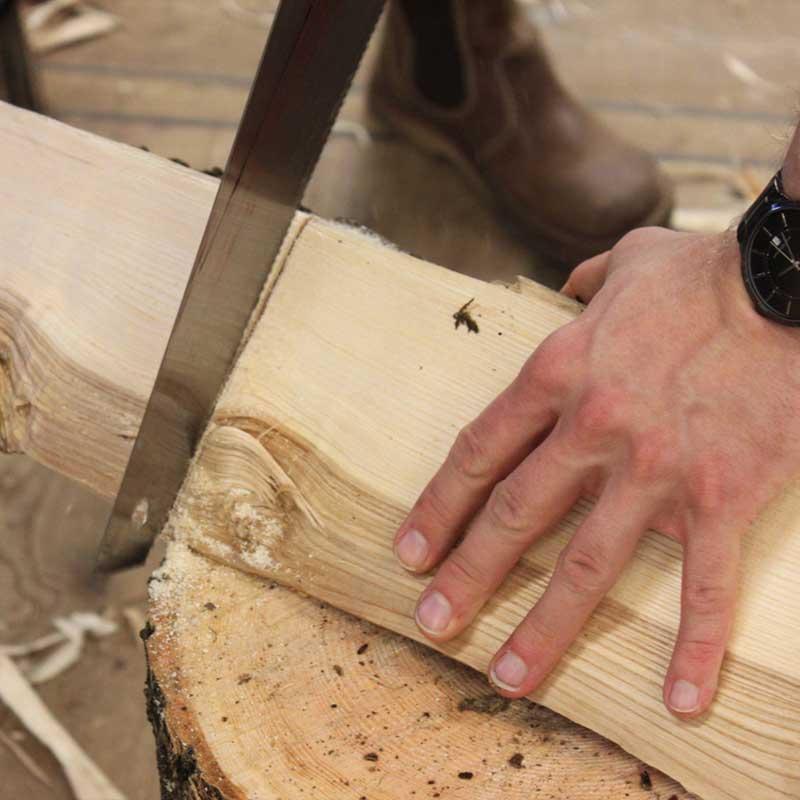 udskæring af træ til grøn sløjd skammel projekt