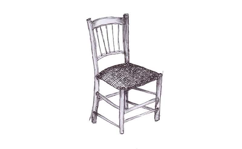 Grøn sløjd stol illustreret